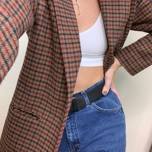 Vintage Woven  Check Wool Blazer